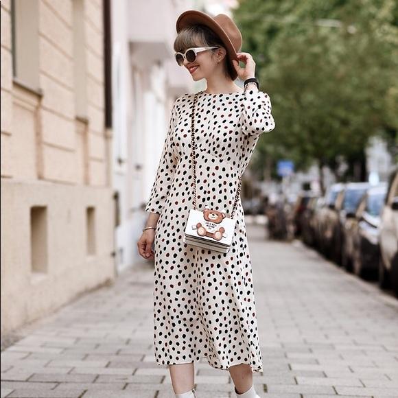 H M Dresses Hm White Label Dotted Midi Dress Poshmark